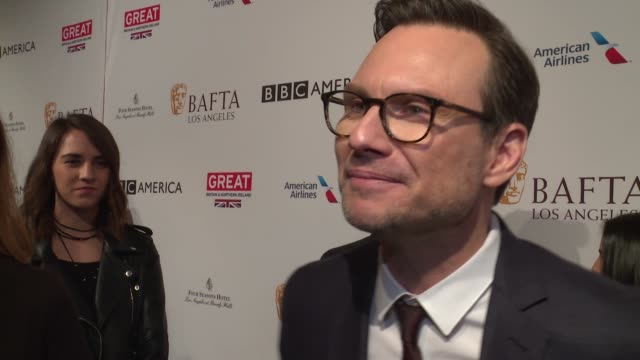 interview christian slater on the event and award season at 2017 bafta los angeles awards season tea party the four seasons los angeles at beverly... - christian slater stock videos & royalty-free footage