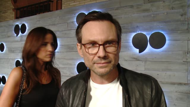 interview christian slater on what brings him out what he loves about go90 at go90 gives vip sneak peek of new social media entertainment platform in... - christian slater stock videos & royalty-free footage