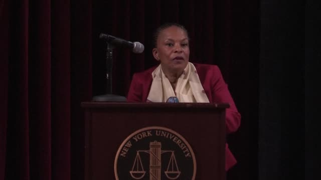 christiane taubira speaks at new york university for a conference her first public engagement since resigning as french justice minister in protest... - new york university stock videos & royalty-free footage