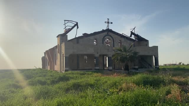 """christians of the iraqi village of qaraqosh, that endured the brutality of the islamic state group until the jihadists' """"caliphate"""" was defeated... - christianity stock videos & royalty-free footage"""