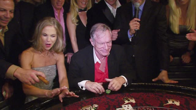 christie hefner and hugh hufner at the the playboy club vip grand opening at the palms hotel and casino at the palms hotel casino in las vegas nevada... - hugh hefner stock-videos und b-roll-filmmaterial