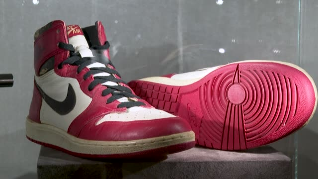 christie's is auctioning off 11 pairs of nba legend michael jordan's rarest game-worn sneakers - basket stock videos & royalty-free footage