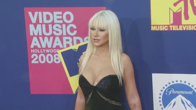 christina aguilera at the 2008 mtv video music awards at los angeles ca - christina aguilera stock videos & royalty-free footage