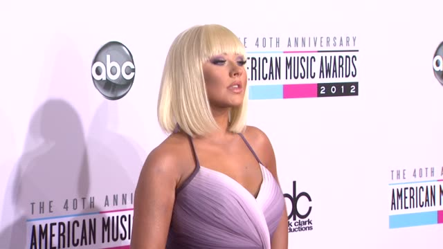 christina aguilera at the 40th american music awards arrivals on in los angeles ca - christina aguilera stock videos & royalty-free footage