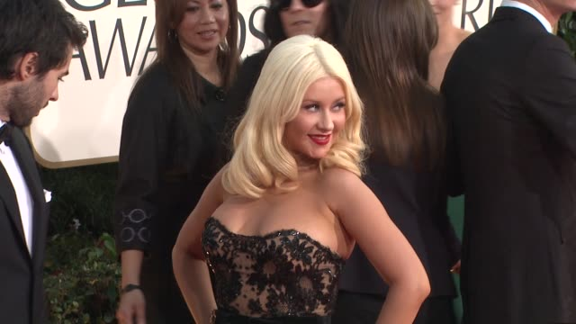 christina aguilera at the 68th annual golden globe awards arrivals part 2 at beverly hills ca - christina aguilera stock videos & royalty-free footage