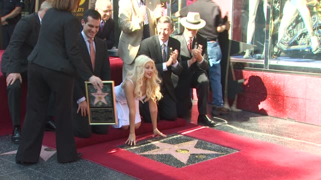 christina aguilera at the christina aguilera receives a star on the hollywood walk of fame at hollywood ca - christina aguilera stock videos & royalty-free footage