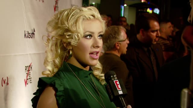 christina aguilera at the rock the vote teams up with society nationwide launch with christina aguilera at kitson in beverly hills, california on... - rock the vote stock-videos und b-roll-filmmaterial