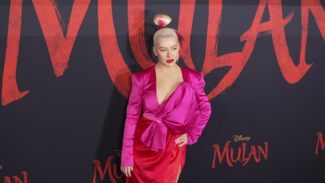 christina aguilera at the world premiere of disney's mulan on march 09 2020 in hollywood california - christina aguilera stock videos & royalty-free footage