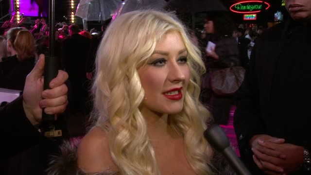 christina aguilera on her costars the difference in making a film and being a singer at the burlesque uk premiere at london england - christina aguilera stock videos & royalty-free footage