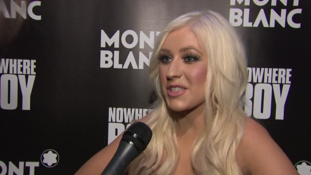 christina aguilera talks about her choice of song tonight's performance and john lennon's legacy at the global launch of the montblanc john lennon... - christina aguilera stock videos & royalty-free footage