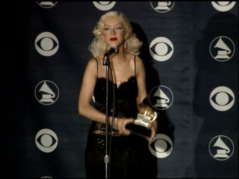 best female pop vocal performance at the 2007 grammy awards press room at staples center in los angeles california on february 11 2007 - christina aguilera stock videos & royalty-free footage