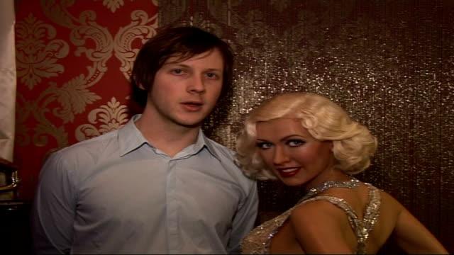 Christina Aguilera's waxwork at Madame Tussauds Ben Lovett interview SOT as standing next to waxwork On Aguilera waxwork concept of vintage powder...