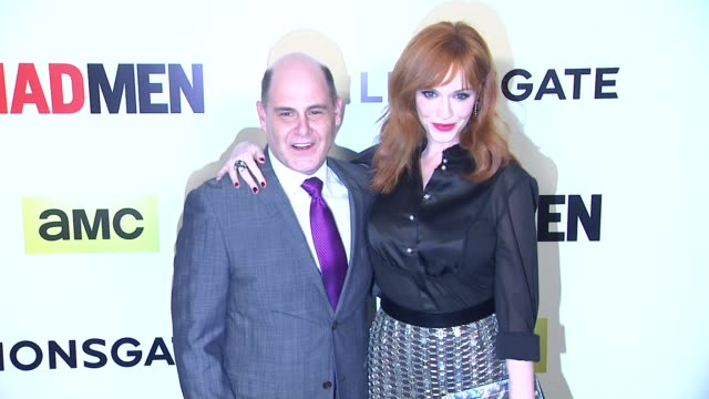 christina hendricks and matthew weiner at the mad men season seven los angeles premiere at arclight cinemas on april 02 2014 in hollywood california - arclight cinemas hollywood stock videos & royalty-free footage