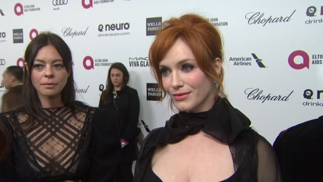 interview christina hendricks at elton john aids foundation presents 22nd annual academy awards viewing party sponsored by chopard neuro drinks and... - christina hendricks stock videos and b-roll footage