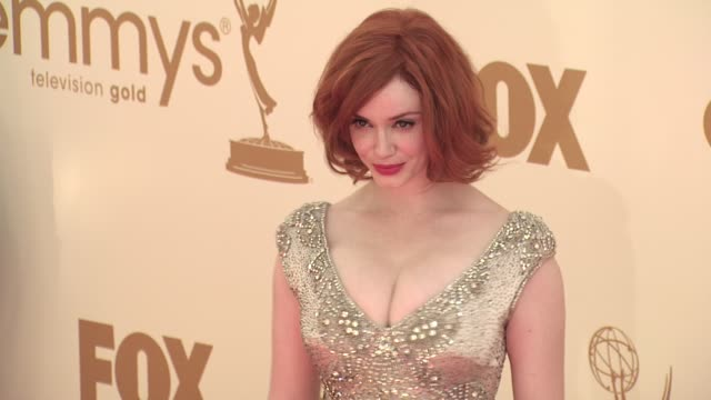 christina hendricks at the 63rd primetime emmy awards arrivals part 1 at los angeles ca - 63rd annual primetime emmy awards stock videos and b-roll footage