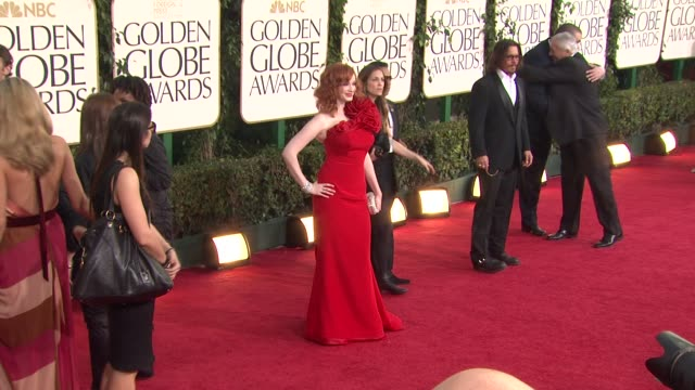 christina hendricks at the 68th annual golden globe awards arrivals part 2 at beverly hills ca - christina hendricks stock videos and b-roll footage