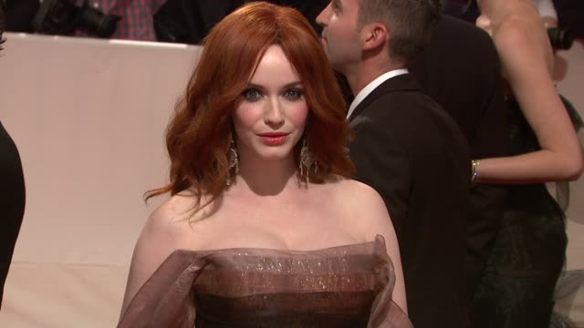 christina hendricks at the 'alexander mcqueen savage beauty' costume institute gala at the metropolitan museum of art at new york ny - christina hendricks stock videos and b-roll footage