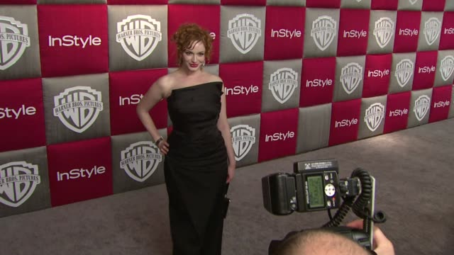 christina hendricks at the instyle 2009 golden globes after party part 3 at los angeles ca - christina hendricks stock videos and b-roll footage