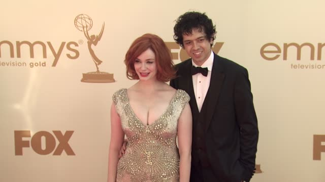 christina hendricks geoffrey arend at the 63rd primetime emmy awards arrivals part 1 at los angeles ca - christina hendricks stock videos and b-roll footage