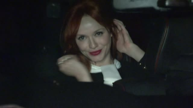 christina hendricks greets fans at dior glamour dinner at chateau marmont in west hollywood 01/09/13 - christina hendricks stock videos and b-roll footage
