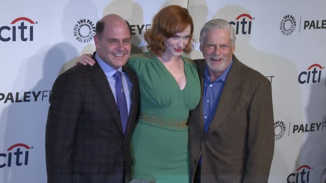 christina hendricks matthew weiner and robert morse at the mad men panel paleyfest 2014 at dolby theatre on march 21 2014 in hollywood california - the dolby theatre stock videos & royalty-free footage