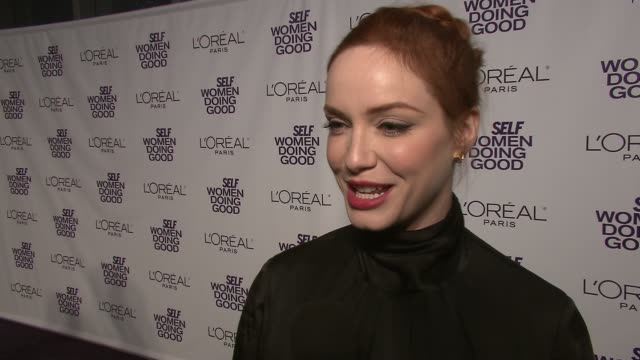 christina hendricks on her date for the emmys at the self magazine's 4th annual women doing good awards at new york ny - christina hendricks stock videos and b-roll footage