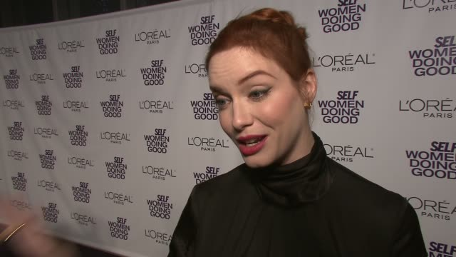 christina hendricks on if she gets nervous at big events at the self magazine's 4th annual women doing good awards at new york ny - christina hendricks stock videos and b-roll footage