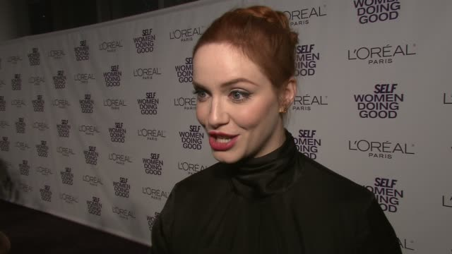 christina hendricks on what she is doing for the makeawish foundation at the self magazine's 4th annual women doing good awards at new york ny - christina hendricks stock videos and b-roll footage