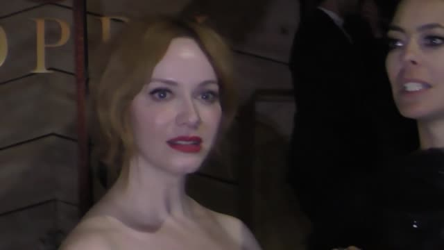 christina hendricks outside seth meyers' golden globe awards after party at poppy nightclub in west hollywood in celebrity sightings in los angeles - golden globe awards stock-videos und b-roll-filmmaterial