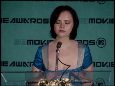 christina ricci at the 1998 mtv movie awards pool feed at barker hanger in santa monica, california on may 30, 1998. - christina ricci stock videos & royalty-free footage