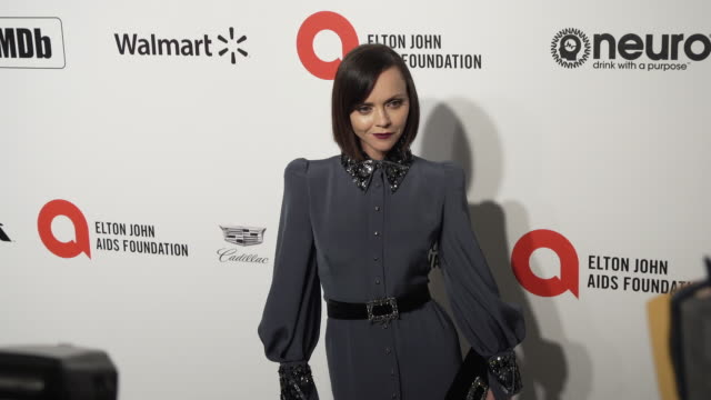 christina ricci at the 28th annual elton john aids foundation academy awards viewing party sponsored by imdb, walmart and neuro drinks at the city of... - christina ricci stock videos & royalty-free footage