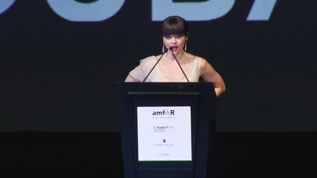 christina ricci congratulates mandy moore on her performance and introduces the live auction at the amfar gala and auction: dubai international film... - christina ricci stock videos & royalty-free footage