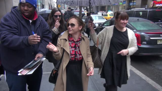 Christina Ricci leaving the TODAY show signs and poses for photos with fans in Celebrity Sightings in New York