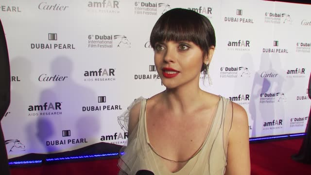 Christina Ricci on her involvement with amfAR on whether she gets stage fright on whether she's done rehearsals and on what she's wearing at the...