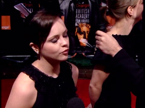 christina ricci on her most memorable films at the the orange british academy film awards 2006 red carpet at london - anno 2007 video stock e b–roll