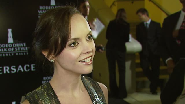 christina ricci on the event, anna nicole smith's death, versace fashion at the rodeo walk of style award presentation to gianni and donatella... - anna nicole smith stock videos & royalty-free footage