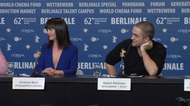 christina ricci, robert pattinson on the advice they got for filming at bel ami press conference: 62nd international berlin film festival 2012 at the... - christina ricci stock videos & royalty-free footage