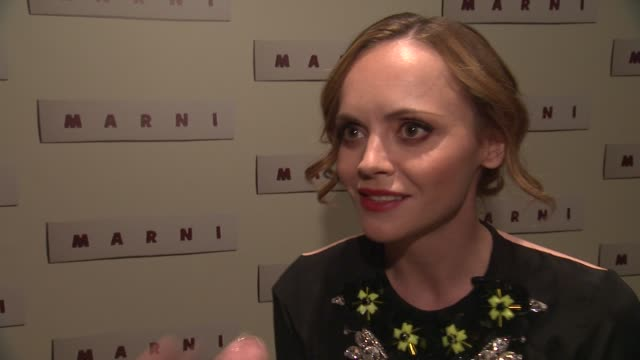 interview christina ricci talks about marni what she likes about their fashion on looking forward to fashion week at marni fragrance launch at tbd on... - marni stock videos & royalty-free footage
