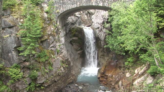ms, christine falls, mount rainier national park, washington, usa - mt rainier national park stock videos & royalty-free footage