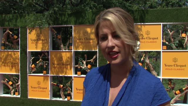 christine kaculis talks about the charity selection at the fifth annual veuve clicquot polo classic at liberty state park on june 02 2012 in jersey... - 動物を使うスポーツ点の映像素材/bロール