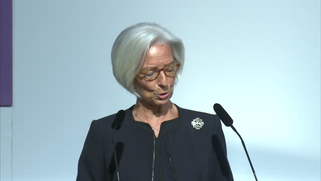 christine lagarde managing director of international monetary fund gives speech to inclusive capitalism conference shows interior shots of christine... - communication stock videos & royalty-free footage