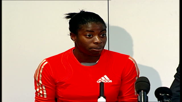 christine ohuruogu press conference; christine ohuruogu press conference sot - start with a message to the press your support means a lot to me,... - trivia stock videos & royalty-free footage