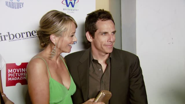 christine taylor and ben stiller at the moving pictures presents 'kabluey' premiere party at 1018 westwood blvd in los angeles, california on june... - christine taylor stock videos & royalty-free footage