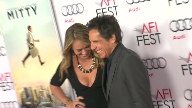 """christine taylor, ben stiller at afi fest 2013 premiere of """"the secret life of walter mitty"""" in hollywood, ca, on . - christine taylor stock videos & royalty-free footage"""