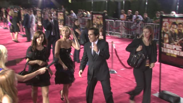 christine taylor, ben stiller at the tropic thunder premiere at los angeles ca. - christine taylor stock videos & royalty-free footage