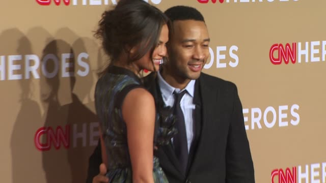 Christine Teigen and John Legend at the CNN Heroes An AllStar Tribute at Los Angeles CA