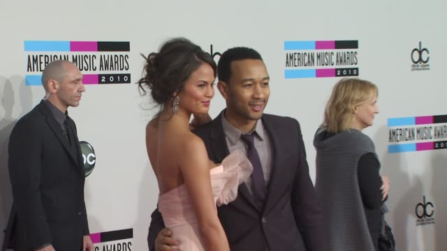 christine teigen john legend at the 2010 american music awards arrivals at los angeles ca - american music awards stock videos and b-roll footage