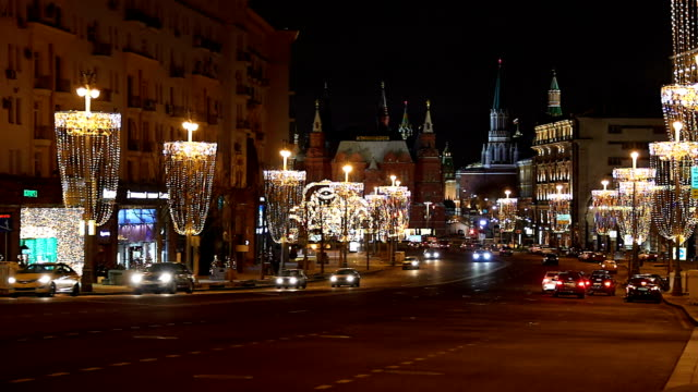 christmas and new year decoration of large city street - 飾りつけ点の映像素材/bロール