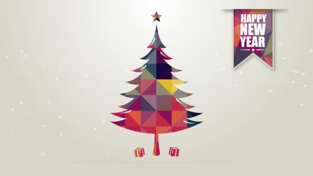vídeos de stock e filmes b-roll de christmas animation with retro colours and text - árvore de natal