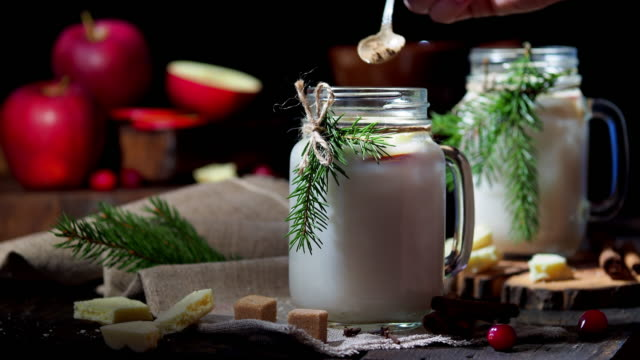christmas apple white hot chocolate - sprinkling stock videos and b-roll footage